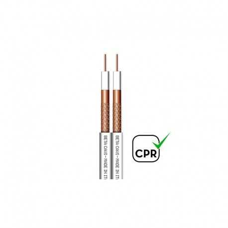 Cable coaxial 5mm TWIN de cobre (0.8mm cobre), lámina y trenza de cobre. Carrete de 75mts