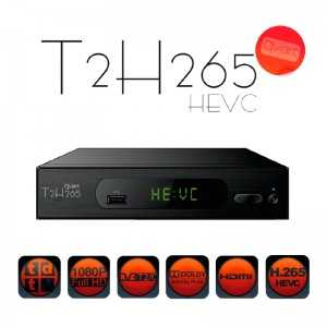 Receptor TDT (T2)+ Cable, FULL HD, H.265, sin Wifi