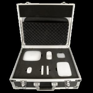Kit de demostración en maleta Ajax. Incluye: 1 HUB, 1 PIR, 1 Contacto magnético, 1 Mando, 1 Sirena interior, 1 Teclado inalámbr