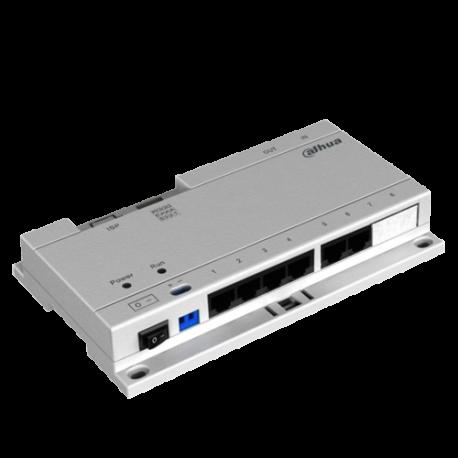 Switch PoE, 6 monitores, para videoporteros Dahua