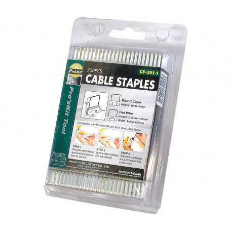 Grapas especiales para grapadora Proskit HRV6002 , que evitan cortar el cable. 16x10,3x7mm. Caja 200 unidades