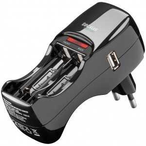 Cargador de 2 pilas con USB. 110-240V, para pilas micro (AAA) y pilas mignon (AA)