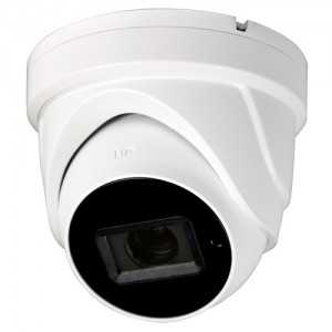 Cámara domo TVI, 8Mpx Ultra Low Light, 2.8-12mm, IR 80mts. IP67, blanca
