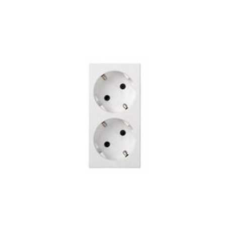 Placa x2 Schuko color blanco. C/LED 500 CIMA