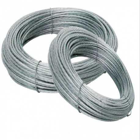 Cable de vientos de acero trenzado, 4 mm, rollos de 100 metros