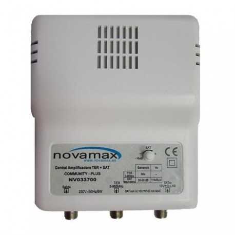 Amplificador FI + Mezcla de TDT, 35-40dB, nivel de salida 120dBuV. Conector F