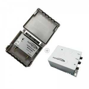 Amplificador mástil, 1E-1S, 36dB, 107dBu, 24V/40mA + Fuente NV033602 24V/200mA