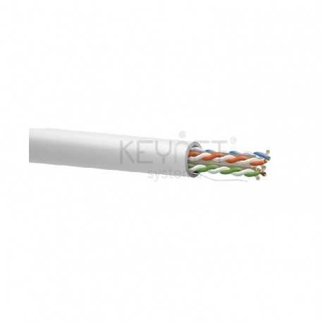 Cable CAT6 UTP, Cobre, LSZH (Libre de Halógenos), Blanco. Bobina 305mts