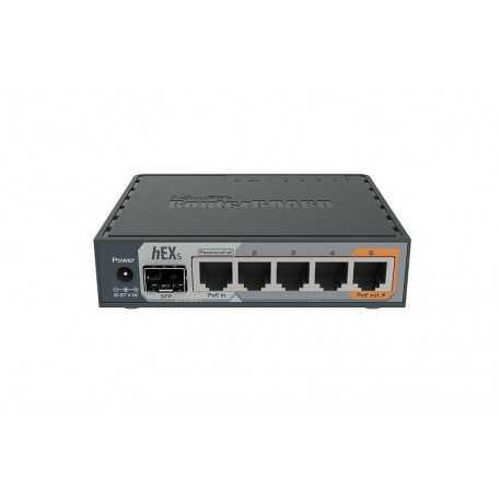 Routerboard SIN WIFI, 2 Cores, 880Mhz, 256Mb RAM, x5 Gb, x1 SFP, MicroSD. Level 4