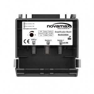 Amplificador de mástil 1 Entrada. UHF (C21/60), 2 Salidas, 35dB, Ajustable 15dB, 102/87dBuV. Paso DC Conmutable