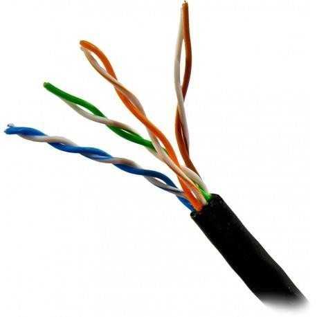 Cable CAT6 UTP, Aluminio cobreado, CPR-FCA, Polietileno (exterior), negro. Bobina 305mts