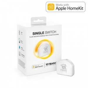 Fibaro Single Switch - Relé ON/OFF para equipos 1x2.5 kW. Versión HOME KIT Apple