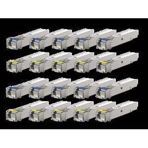 Pack de 10 parejas (20 módulos) SFP (1.25G SM 3km,T1550nm/R1310n)