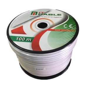 Cable coaxial Tv 1.13 Cobre, Malla y lamina de Cobre. Bobinas de 100 mts. Blanco