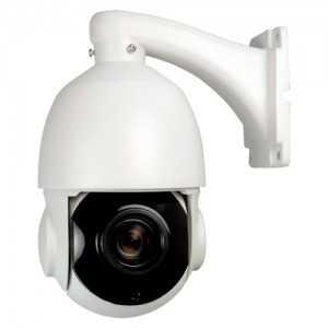 Cámara domo PTZ HDTVI, 1080p, 4.6-165mm motorizada, IR 120mts. IP66, blanca. Incluye brazo
