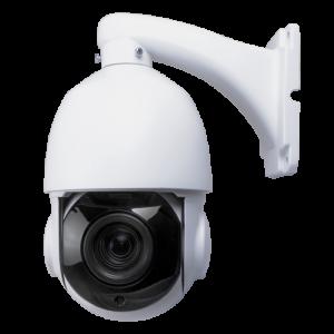 Cámara domo PTZ HDCVI, 1080p, 4.7-94mm motorizada, IR 120mts. IP66, blanca. Incluye brazo
