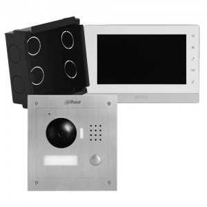 """Kit videoportero IP 2 hilos de empotrar, para supervisión vía smartphone. Con monitor 7"""", uso con móvil. Unifamiliar"""