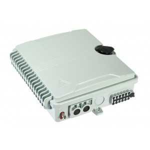 Caja distribución F.O 2 puertos, hasta 12 fibras SC SX de interior/exterior. Cierre de seguridad