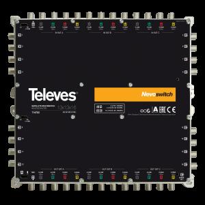 Multiswitch de 13 entradas (1 RF y 12 FI para 3 satélites) y 16 salidas de usuario.
