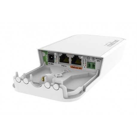 Inyector PoE Gb con un conector a bateria de 12V (bateria no incluida) de respaldo, para situaciones donde la alimentación no e
