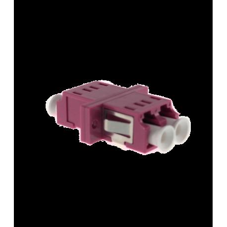 Adaptador LC-LC PC MM OM4, DX, sin fijaciones, tapón traslúcido, violeta