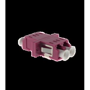 Adaptador LC-LC PC MM OM4, DX, con fijaciones, tapón traslúcido, violeta