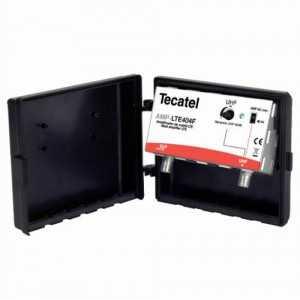 Amplificador de mástil 1 entrada, UHF 40dB de ganancia, 102dbuV, LTE
