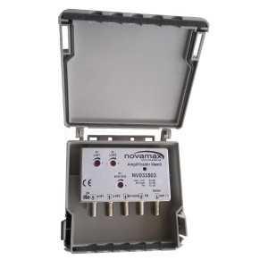 Amplificador mástil 4E-1S, UHF 40dB / FM 10dB / BIII/DAB 30dB, 104 - 107dBu. Alimentación 24 V. 40 mA