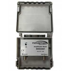Amplificador de mástil 5G. 1 Entrada. UHF (C21/48), 36dB, Ajustable 20dB, 107dBµV. Paso DC Conmutable