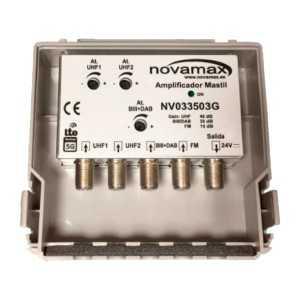Amplificador mástil 5G 4E-1S, UHF 40dB / FM 10dB / BIII/DAB 30dB, 104 - 107dBu. Alimentación 24 V