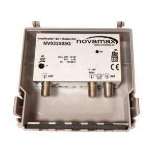 Amplificador de mástil 5G, 2 Entradas. UHF/ Mezcla satélite, 30dB, ajustable 20dB,104/107dBuV