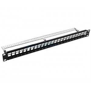 """Patch Panel para rack de 19"""" vacío para x24 conectores Keystone CAT6 UTP, metal"""