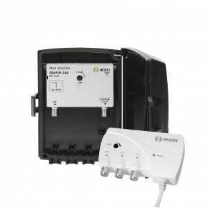 KIT Amplificador de mástil 1 Entrada. UHF (C21/48), 40dB, Ajustable 15dB, 106dBµV