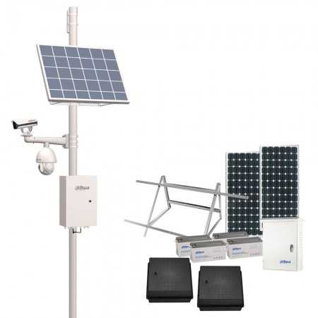 Kit solar Dahua, 2 placas 330W, regulador 30A, 4 baterias 150Ah.