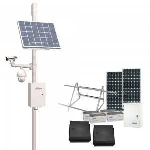 Kit solar Dahua, 2 placas 330W, regulador 30A, 4 baterias 150Ah.