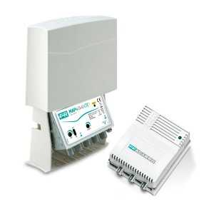 Kit Amplificador de mástil 5G. 2 Entrada. FM+DAB / UHF (C21/48), 22/28dB, Ajustable 15dB, 112/116dBnV