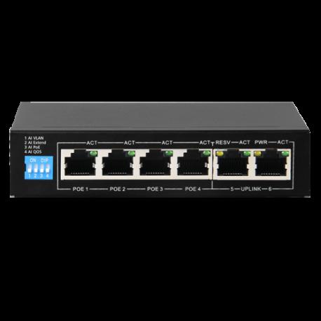 Switch de 4 puertos 10/100 POE 60W + x2 UPLINK, para sobremesa.