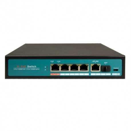 Switch de 4 puertos 10/100/1000 POE (65W) + x1 puertos Gigabit + 1 SFP. Sobremesa