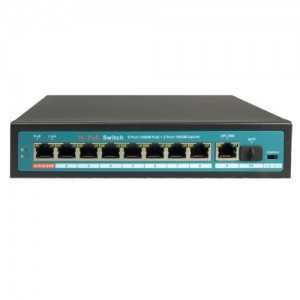 Switch de 8 puertos Gigabit POE 120W, x1 UPLINK Gigabit, x1 SFP. Sobremesa