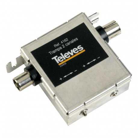 Filtro trampa UHF, 2 canales con 2 ajustes. Banda 47-862Mhz. Conector F