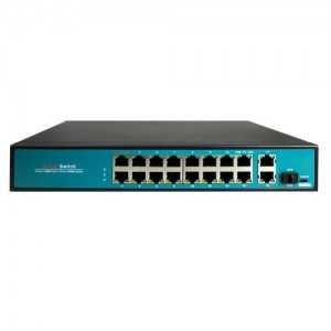 Switch de 16 puertos 10/100 POE, 300W, x2 puertos Gigabit, x1 SFP. Sobremesa