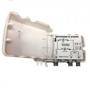 Amplificador de interior, 2 salidas, VHF/UHF, 24dB, 102dBu. Nova Mini 2. 4G
