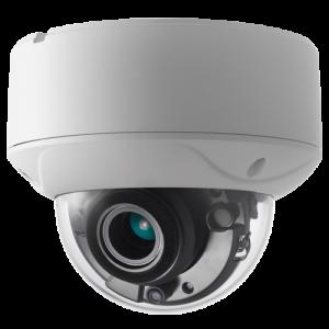 Cámara domo HDTVI, 5Mpx, 2.8-12mm, IR 40mts, Autofocus. IP67, PoC, blanca
