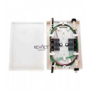 Caja para hasta 12 fusiones, de interior, 2E y 2S de cable, con porta fusiones. Blanca