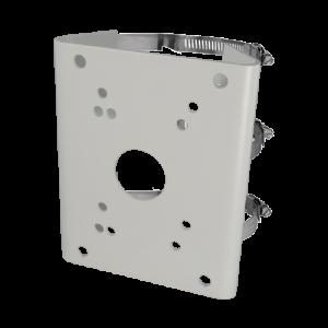 Soporte para domos motorizadas - Uso en poste o farola. Rango diámetro 103~127 mm- Color blanco