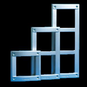 Marco de la serie VANDALCOM, para 1 módulo, color gris acero. Sistema Simplebus. Medidas:143x143x18