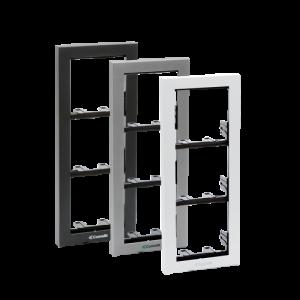 Soporte 4 módulos para placa mod. IKALL color plata.