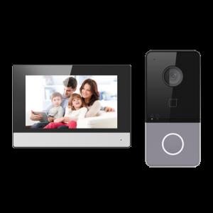 """Kit videoportero IP placa de superficie 2 Mpx, con monitor 7"""" Wifi y lector Mifare. Uso con móvil. Unifamiliar."""