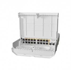 Switch gestionable Cloud Router para Exterior de 800MHz CPU, 256MB RAM, x16Gb PoE, x2 SFP+, RouterOS, Level 5