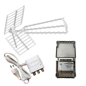 Kit Antena UHF 5G Triplex + Amp. Mástil 5G+ Fuente Alimentación